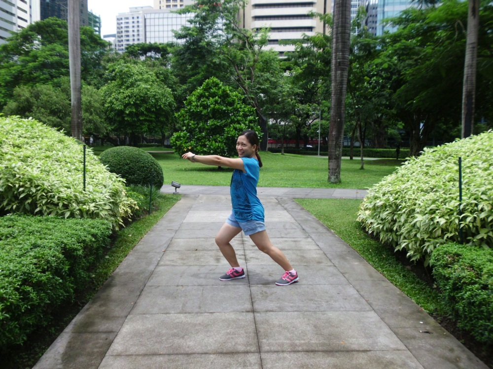 Doing my exercise at Ayala Triangle Gardens